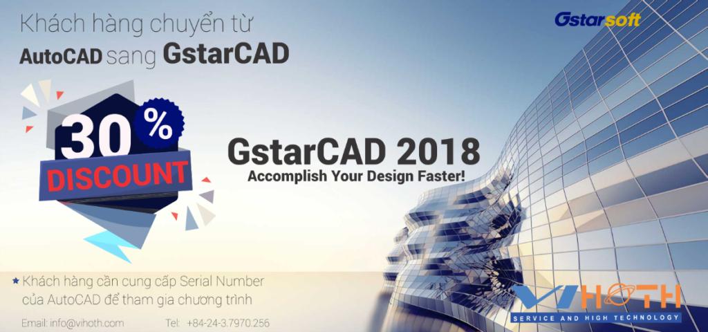 Siêu giảm giá khi mua phần mềm bản quyền GstarCAD tại ViHoth