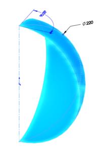 Sử dụng SOLIDWORKS vẽ đường kính 220 m của trái bóng