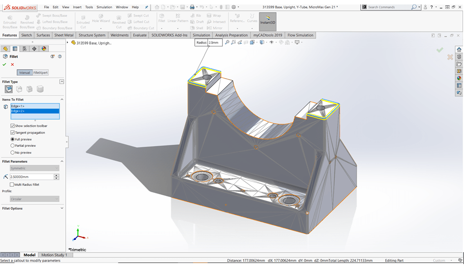 Hướng dẫn surface SOLIDWORKS 2020 – Direct Mesh Editing