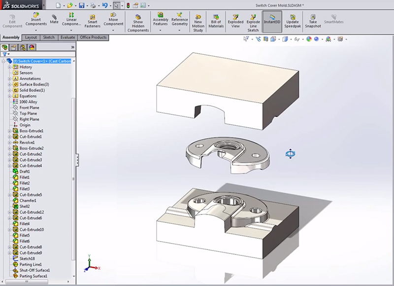Lệnh Shut-off Surfaces trong Mold Tools SOLIDWORKS thiết kế khuôn
