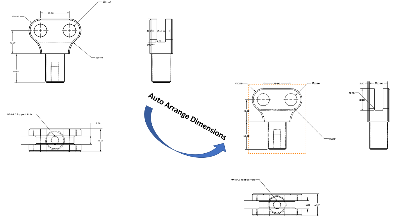 Công cụ Auto Arrange Dimension trong SOLIDWORKS Drawings