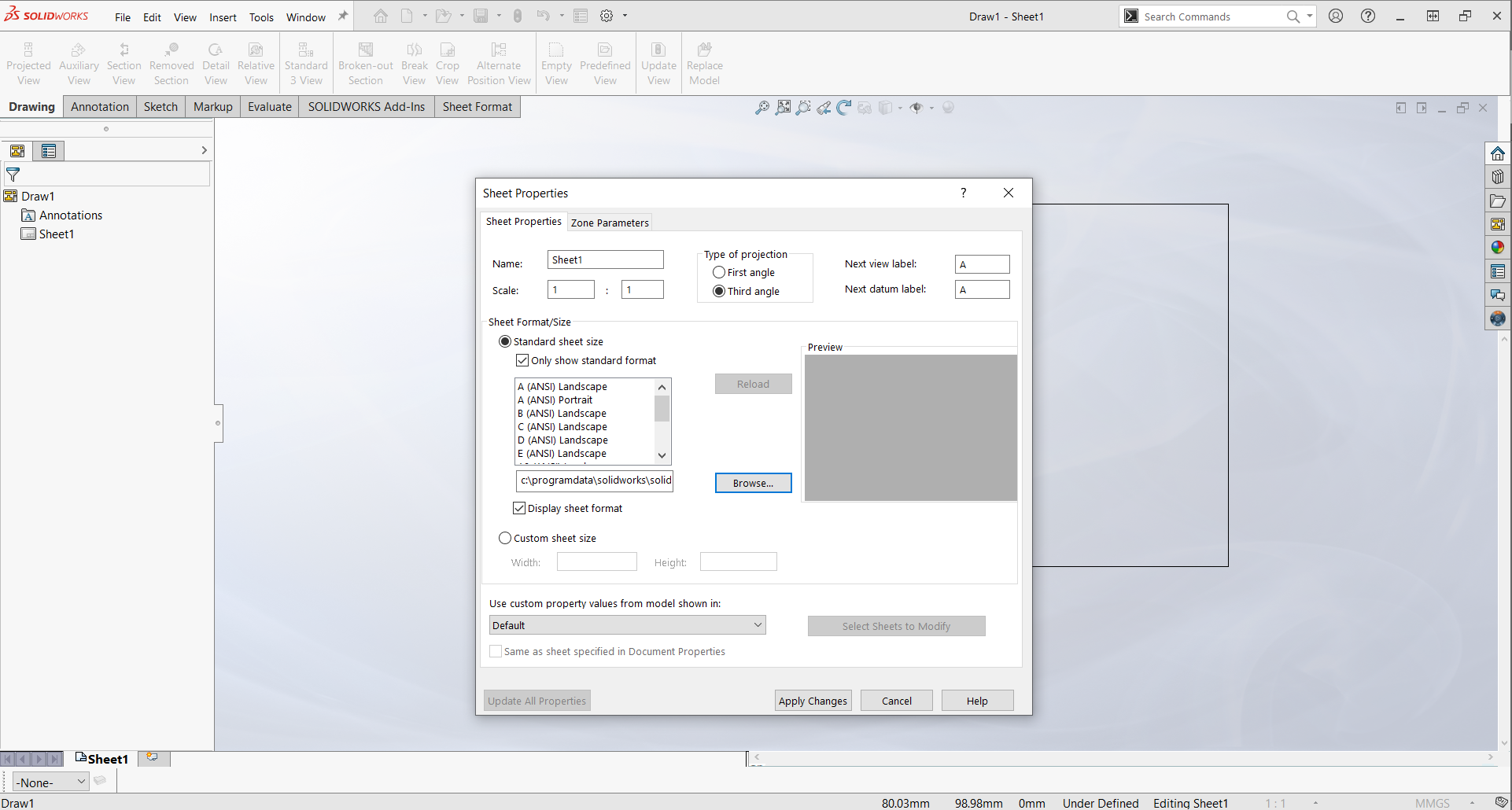 Lỗi SOLIDWORKS Sheet Format could not be located