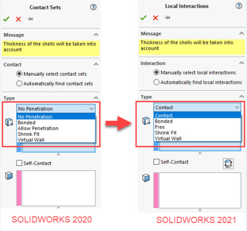 SOLIDWORKS Simulation 2021 thay đổi thuật ngữ